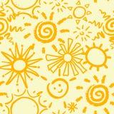Nahtloses Muster mit Sonne Auch im corel abgehobenen Betrag Stockfoto