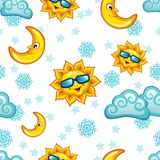 Nahtloses Muster mit Sonne, Mond und Wolken Lizenzfreie Stockbilder