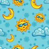 Nahtloses Muster mit Sonne, Mond und Wolken für Kinder Lizenzfreies Stockfoto