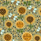 Nahtloses Muster mit Sonnenblumen und Bienen vektor abbildung