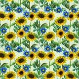 Nahtloses Muster mit Sonnenblumen und Wildflowers Stockfotos