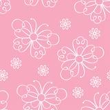 Nahtloses Muster mit Spitzeschmetterlingen und -blumen Des Rosas Hintergrund girly lizenzfreie abbildung