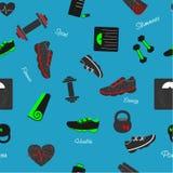 Nahtloses Muster mit Sport- und Eignungselementen Stockfotos