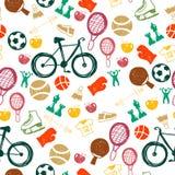 Nahtloses Muster mit Sportikonen Lizenzfreie Stockfotos