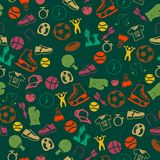 Nahtloses Muster mit Sportikonen Lizenzfreies Stockfoto