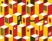 Nahtloses Muster mit Stadtgebäuden Lizenzfreie Stockbilder