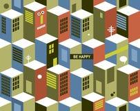 Nahtloses Muster mit Stadtgebäuden Stockbild
