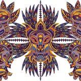 Nahtloses Muster mit Stammes- Maske und aztekischer geometrischer lateinamerikanischer Verzierung Lizenzfreie Stockbilder
