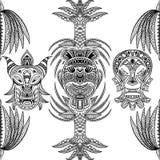 Nahtloses Muster mit Stammes- Maske und aztekischer geometrischer lateinamerikanischer Verzierung Lizenzfreie Stockfotografie