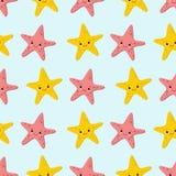 Nahtloses Muster mit Starfishesnetten Seehintergründen Meeresflora und -faunahintergrund stock abbildung