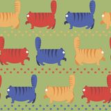 Nahtloses Muster mit starken Katzen Stockbilder