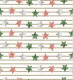Nahtloses Muster mit Sternen auf gestreiftem Hintergrund Lizenzfreies Stockbild