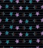 Nahtloses Muster mit Sternen auf gestreiftem Hintergrund Stockfotos