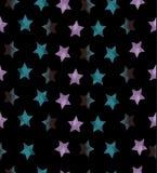 Nahtloses Muster mit Sternen auf schwarzem Hintergrund Lizenzfreies Stockfoto