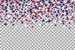 Nahtloses Muster mit Sternen für Memorial Day -Feier auf transparentem Hintergrund lizenzfreie abbildung