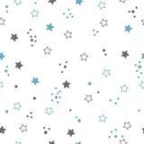 Nahtloses Muster mit Sternen Nächtlicher Himmel mit vielen Sternen Lizenzfreie Stockfotografie