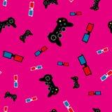 Nahtloses Muster mit Steuerknüppeln und Gläsern 3D Einfache Vektorillustration Rosa, schwarz, rot, blau, weiß vektor abbildung