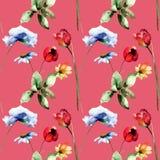 Nahtloses Muster mit stilisierten wilden Blumen Stockfotografie