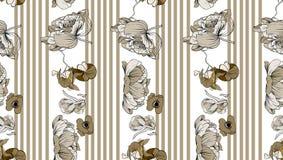 Nahtloses Muster mit Streifen und Beige blüht Pfingstrose und orhid Stockfotografie