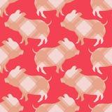 Nahtloses Muster mit Symbol des Chinesischen Neujahrsfests Gelbes Erdschwein Grafisches Element für Design lizenzfreie abbildung