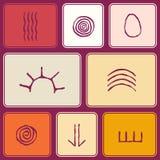 Nahtloses Muster mit Symbolen der australischen eingeborenen Kunst Stockbilder