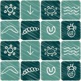 Nahtloses Muster mit Symbolen der australischen eingeborenen Kunst Lizenzfreies Stockfoto
