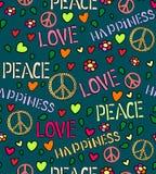 Nahtloses Muster mit Symbolen der Hippie Liebes- und Friedensfarbhintergrund Stockfotografie