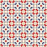 Nahtloses Muster mit symmetrischer geometrischer Verzierung Ethnische dekorative Beschaffenheit Lizenzfreies Stockfoto