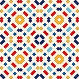 Nahtloses Muster mit symmetrischer geometrischer Verzierung Ethnische dekorative Beschaffenheit Lizenzfreie Stockfotos