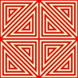 Nahtloses Muster mit symmetrischer geometrischer Verzierung Gestreifter roter weißer abstrakter Hintergrund Stockfotos