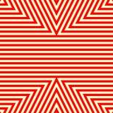 Nahtloses Muster mit symmetrischer geometrischer Verzierung Gestreifter roter weißer abstrakter Hintergrund Lizenzfreie Stockbilder