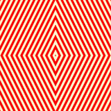 Nahtloses Muster mit symmetrischer geometrischer Verzierung Gestreifter roter weißer abstrakter Hintergrund Stockfotografie