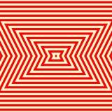 Nahtloses Muster mit symmetrischer geometrischer Verzierung Gestreifter roter weißer abstrakter Hintergrund Stockbild