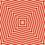 Nahtloses Muster mit symmetrischer geometrischer Verzierung Gestreifter roter weißer abstrakter Hintergrund Lizenzfreies Stockfoto
