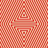 Nahtloses Muster mit symmetrischer geometrischer Verzierung Gestreifter roter weißer abstrakter Hintergrund Stockfoto