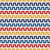 Nahtloses Muster mit symmetrischer geometrischer Verzierung Heller ethnischer abstrakter Hintergrund des Zickzacks Stockfotografie