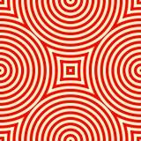 Nahtloses Muster mit symmetrischer geometrischer Verzierung Roter weißer abstrakter Hintergrund des Kaleidoskops Stockfotos