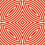 Nahtloses Muster mit symmetrischer geometrischer Verzierung Roter weißer abstrakter Hintergrund des Kaleidoskops Stockfoto