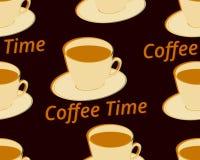 Nahtloses Muster mit Tasse Kaffee auf einer Untertasse Kaffee und mehr Vektor Stockfotografie