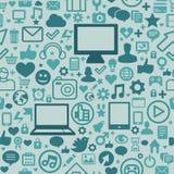 Nahtloses Muster mit Technologieikonen Lizenzfreies Stockfoto