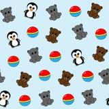 Nahtloses Muster mit Teddybären, Pinguinen und Bällen Lizenzfreie Stockfotos