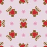 Nahtloses Muster mit Teddybären und Herzspielzeug Lizenzfreie Stockfotografie