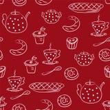 Nahtloses Muster mit Tee- oder Kaffeeset Stockfotografie