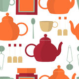 Nahtloses Muster mit Tee Teekanne, Schalen Stockbilder