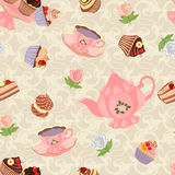 Nahtloses Muster mit Teekanne, Schalen, Kuchen und Rosen Stockbilder