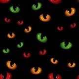 Nahtloses Muster mit Tieraugen glühen in die Dunkelheit Stockbild