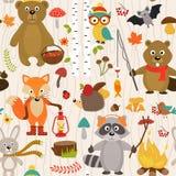 Nahtloses Muster mit Tieren des Waldes auf beige Hintergrund stock abbildung