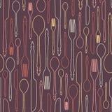 Nahtloses Muster mit Tischbesteck 1 Lizenzfreies Stockbild