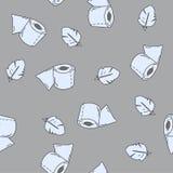 Nahtloses Muster mit Toilettenpapier und Feder Vektorvorlage ist- zum Download betriebsbereit Lizenzfreie Stockbilder