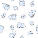 Nahtloses Muster mit Toilettenpapier und Feder Vektorvorlage ist- zum Download betriebsbereit Lizenzfreies Stockbild